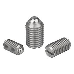K0310 Kipp Spring plungers with slot and ball, stainless steel