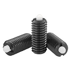K0318 Kipp Spring plungers with hexagon socket and POM thrust pin, steel