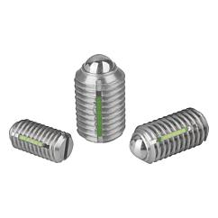 K0322 Kipp Spring plungers with slot and ball, LONG-LOK secured, stainless