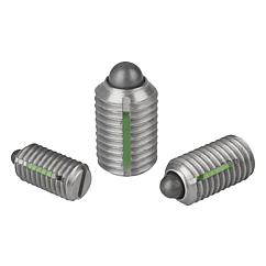 K0324 Kipp Spring plungers with slot and thrust pin, LONG-LOK secured