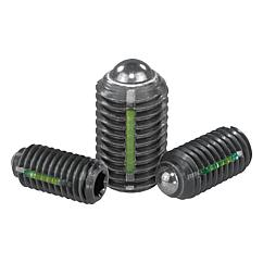 K0325 Kipp Spring plungers with hexagon socket and ball, LONG-LOK secured