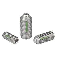 K0326 Kipp Spring plungers with hexagon socket and ball, LONG-LOK secured