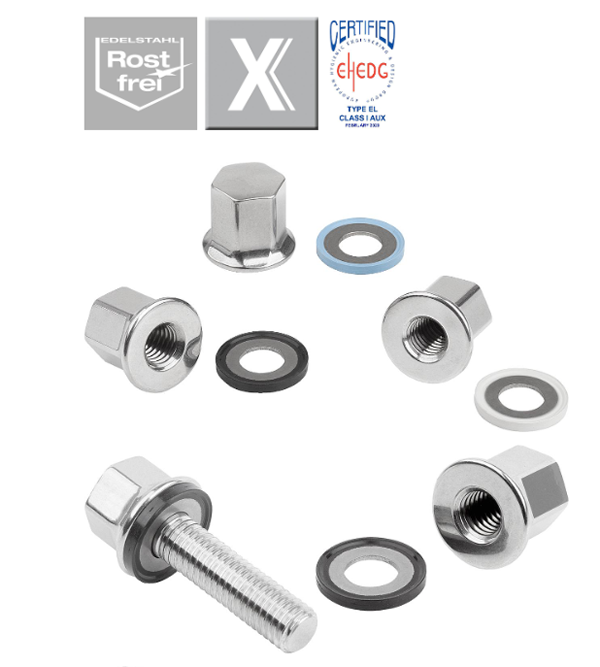 Stainless steel cap nuts with collar and seal and shim washer forHygienic USIT® set