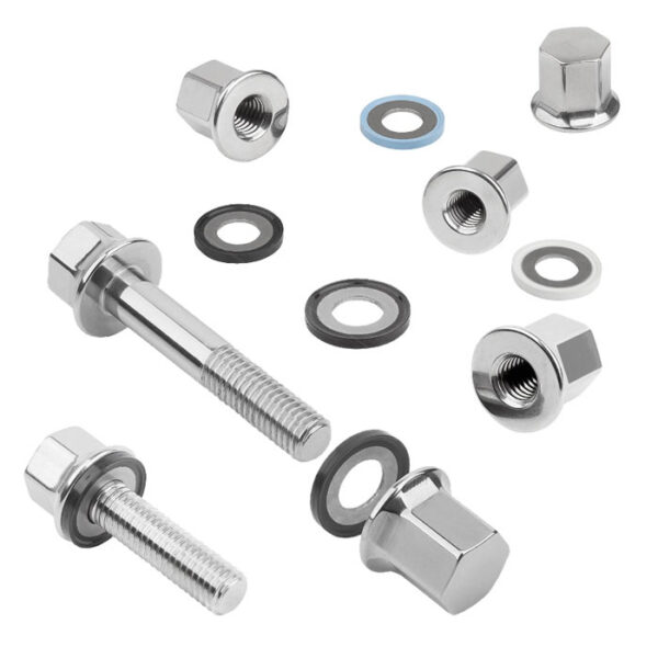K1594 Kipp Stainless steel cap nuts with collar, seal, shim washer for Hygienic USIT® set