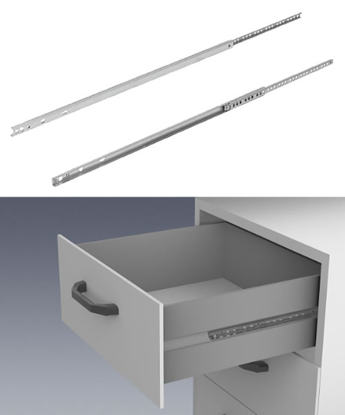 K1566 Kipp Telescopic slides, steel for slot mounting, partial extension, loadcapacity up to 10 kg