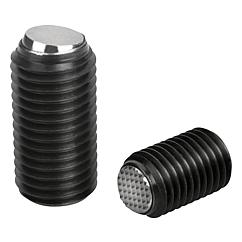 K0383 Kipp ball-end thrust screws without head with flattened ball and rotation lock