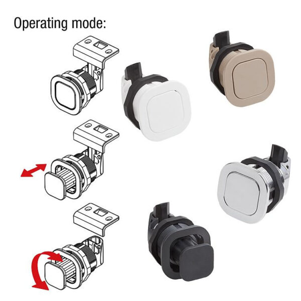 K1654 Snap locks, plastic with twist knob
