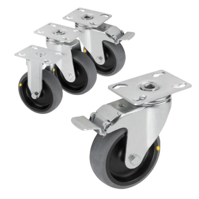 K1760 Kipp swivel and fixed castors steel plate, electrically conductive, heavy-duty version
