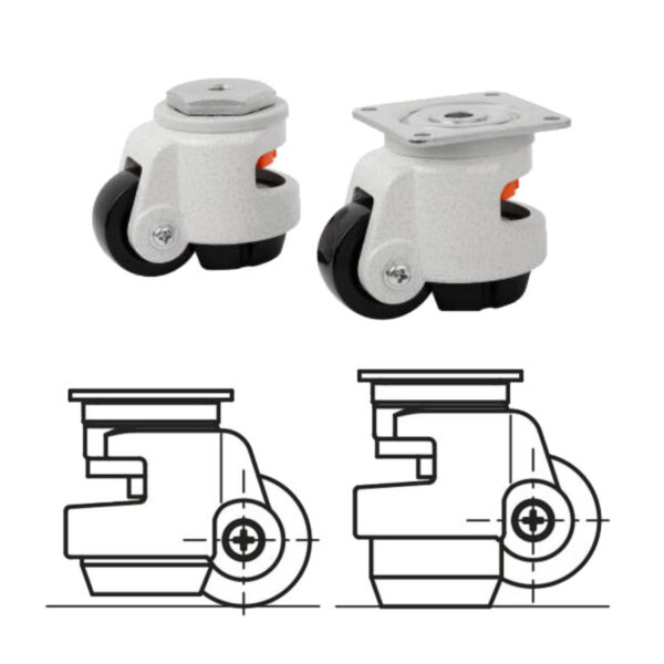 K1786 Kipp Elevating castors with foot with bolt hole or mounting plate