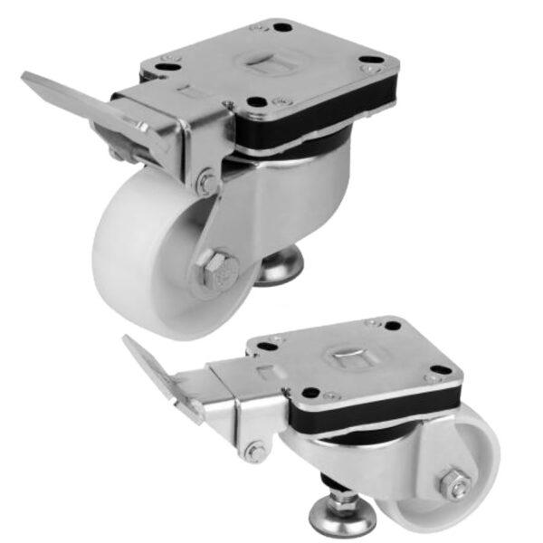 K1787 Kipp Elevating castors with integrated machine foot
