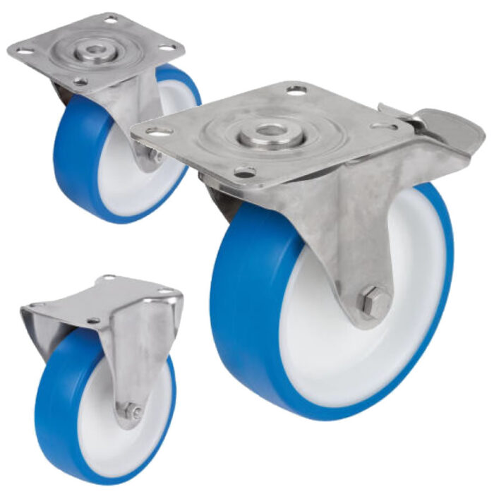 K1790 Kipp Swivel and fixed castors stainless steel, for sterile areas