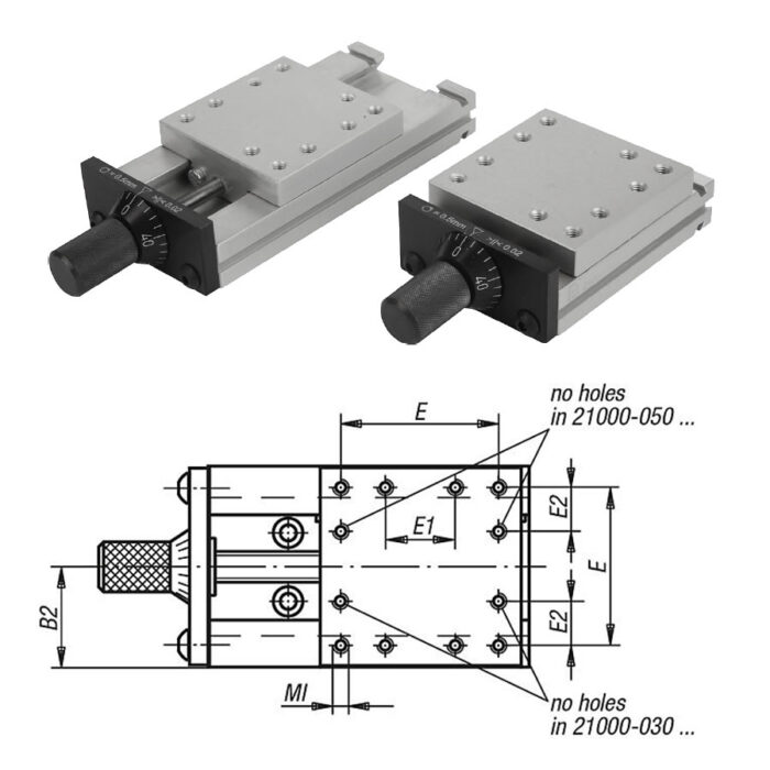 Norelem 21000 Dovetail slides with micrometer spindle