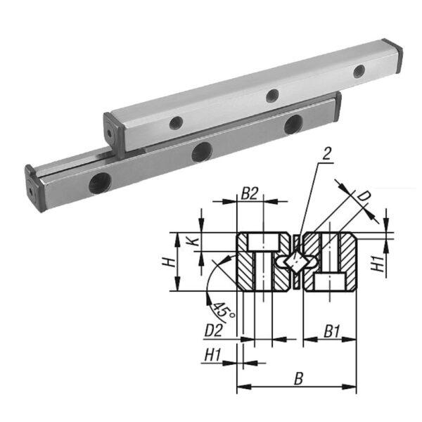 Norelem 21050 Guide rails for cross rollers