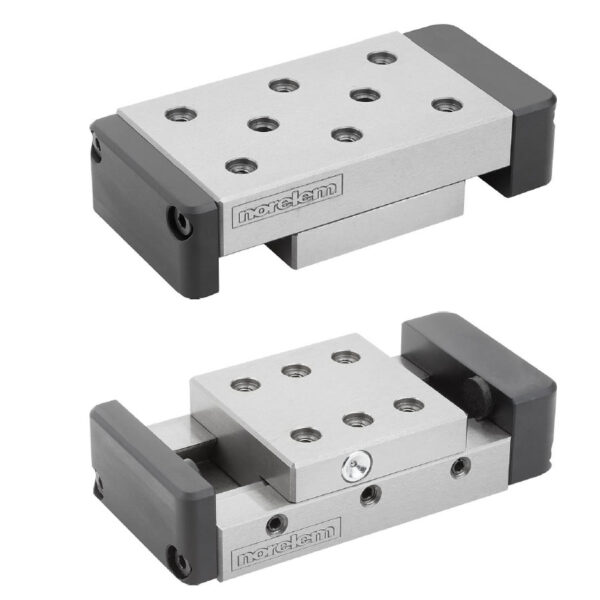 Norelem 21061 Dovetail slides with end plates and location holes