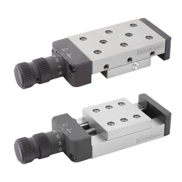 Norelem 21062 Dovetail slides with micrometer spindle and location holes