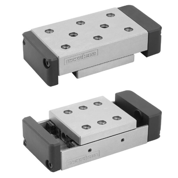 Norelem 21068 Precision slides roller mounted with end plates and location holes