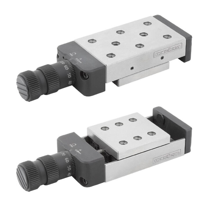 Norelem 21070 Precision slides roller mounted with micrometer spindle and location holes